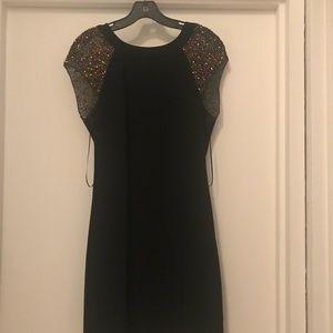 Trina Turk nettle dress sz 6,black w/beaded sleeve